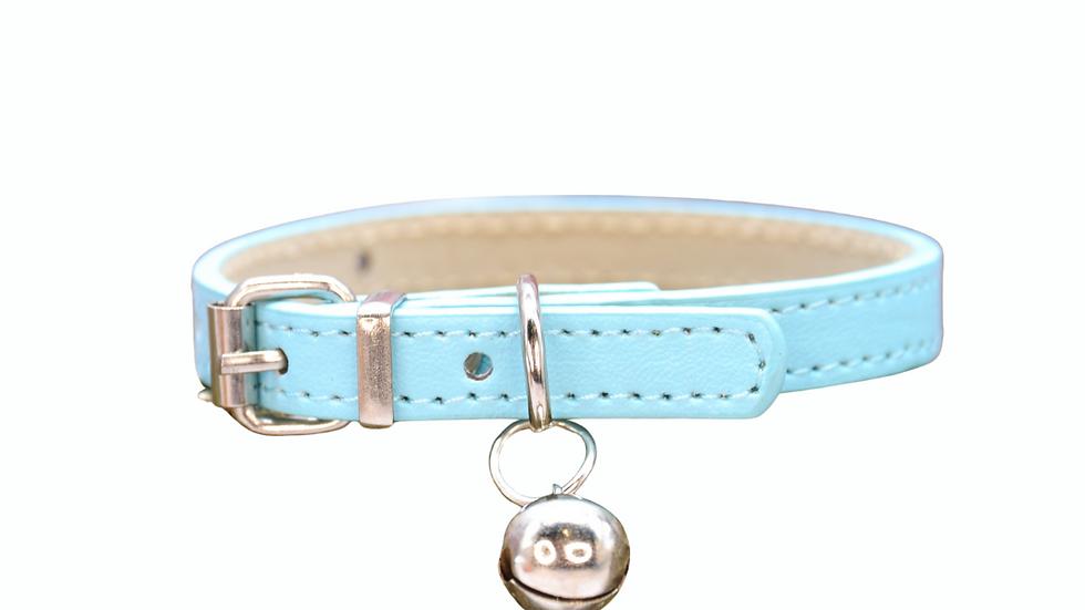 Cat Collar: Light Blue Vegan Leather