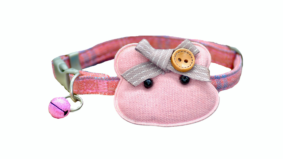 Cat Collar: Dusky Pink Plaid