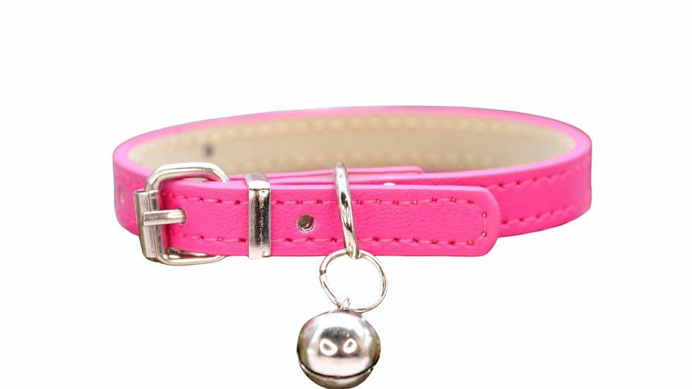 Cat Collar: Bright Pink Vegan Leather