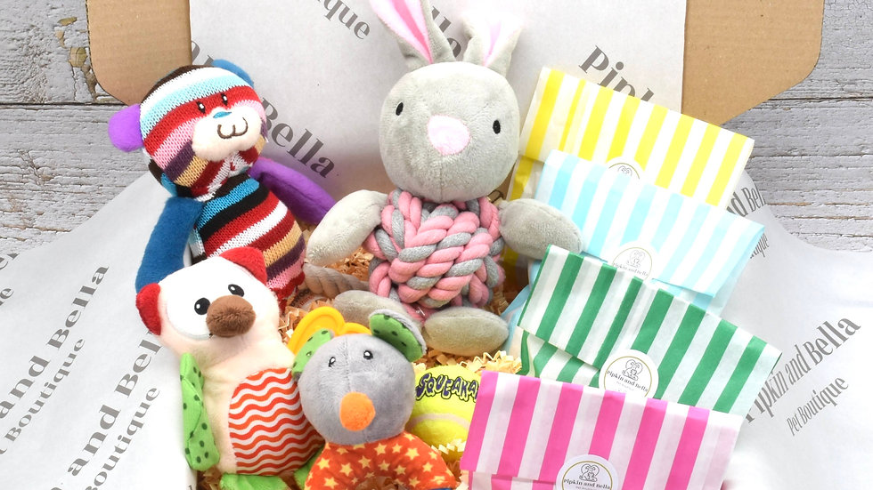 Dog and Puppy Gift Box with Pink Rabbit