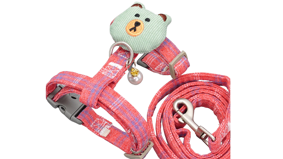 Cat Harness: Rose Pink Plaid