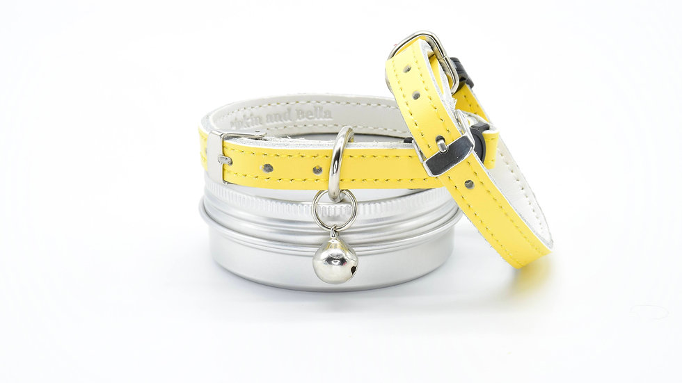 Bright Yellow Leather Kitten and Cat Collars
