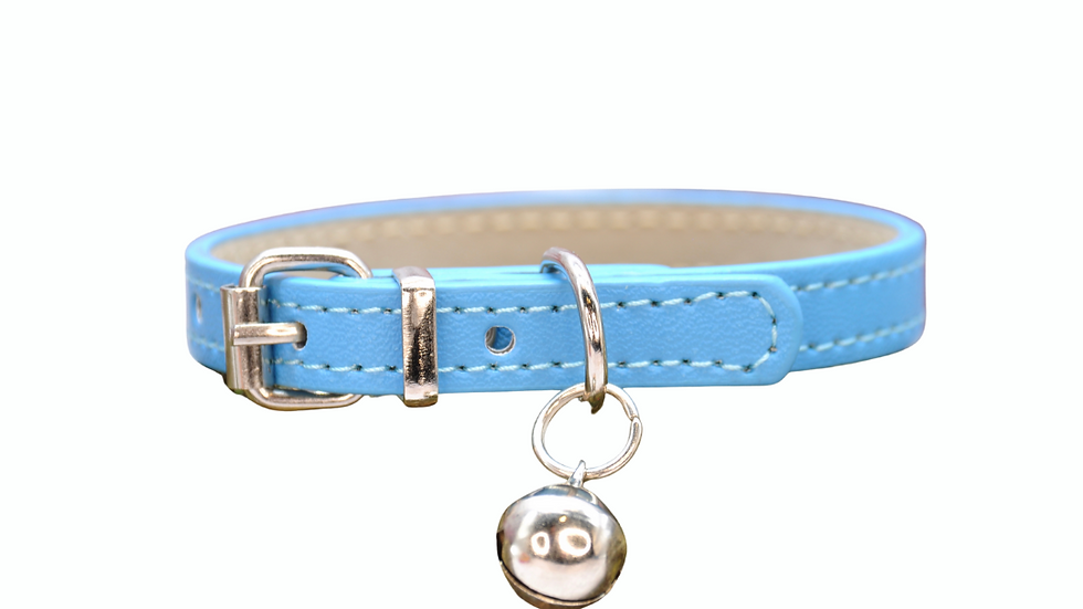 Cat Collar: Blue Vegan Leather