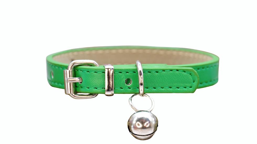 Cat Collar: Green Vegan Leather