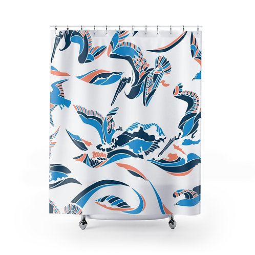 Pelican Wave Shower Curtain