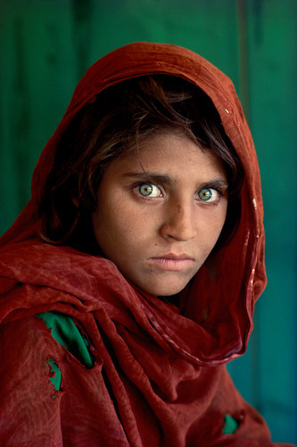 "Sharbat Gula, ""Afghan Girl"", at Nasir Bagh refugee camp near Peshawar, Pakistan | Steve McCurry | 1984"