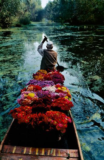 Flower seller at Dal Lake, Srinagar, Kashmir | Steve McCurry | 1996