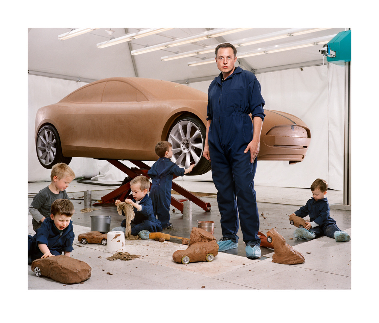 Elon Musk with his Sons, Hawthorne, California | From the series Portrait | Martin Schoeller | 2009