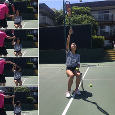 Working on the top spin serve before high school tryouts...