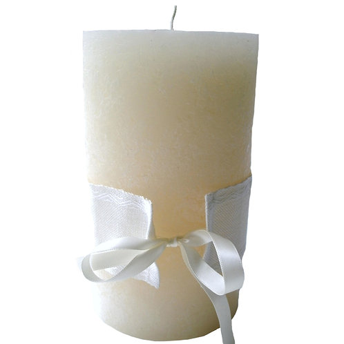 doopkaars creamy met band eigen kleur kruissteek