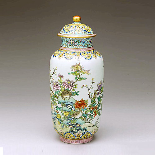 Chinese Famille Rose Jar with Lid of Chrysanthemum and Quail patterns