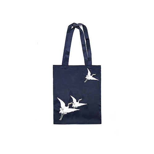 Embroidered Silk Tote Bag with Cranes