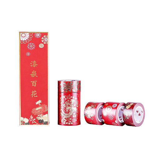 Lacquer-inspired Flowers in Bloom Decorative Tape Set