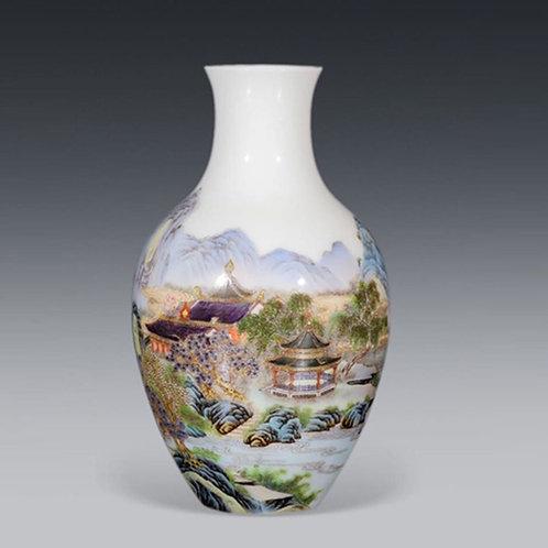 Yang-Tsai style Baluster Vase with  landscape patterns
