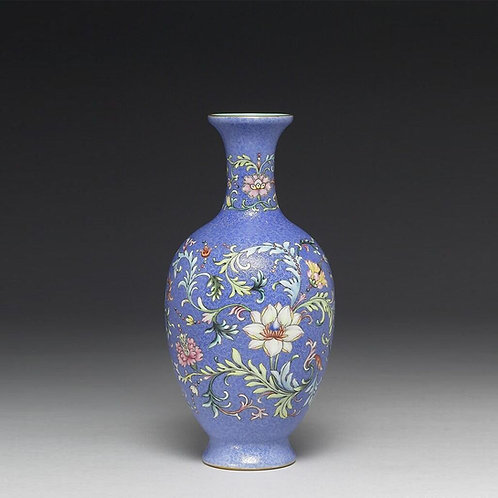 Yang-Tsai style Emerald-Ground  Baluster Vase with Flowers