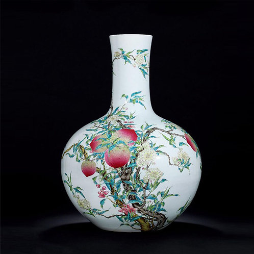 Chinese Famille Rose Celestial Globe Vase with Peaches