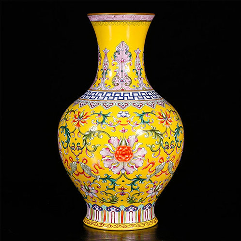 Yellow Chinese Famille Rose Vase with Flowers and Fishes