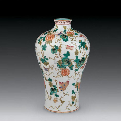Yang-Tsai style vase with Patterns of  Melons, Butterflies and Plum Blossoms