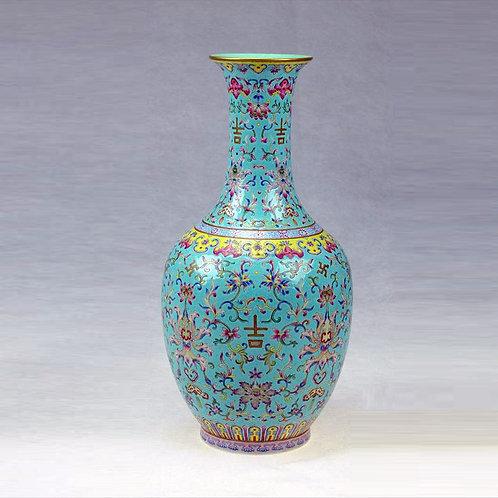 Chinese Famille Rose Green  Narrow-Mouth Vase with Foliage Prints