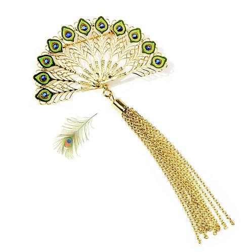 羽毛扇金属胸针