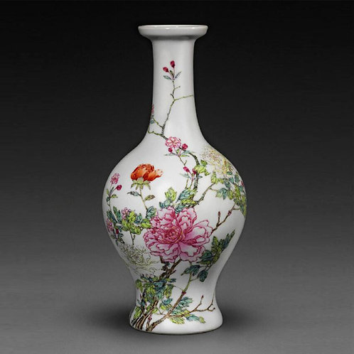 Chinese Famille Rose Dish-Mouth Vase with Peonies