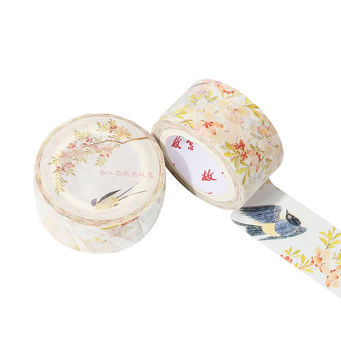 Sparrows Flying in Spring Decorative Tape