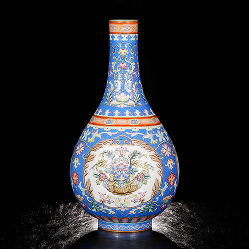 Chinese Famille Rose Open  Medallion Vase with Flower Baskets