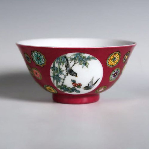 Peachbloom-glazed bowl with  flowers