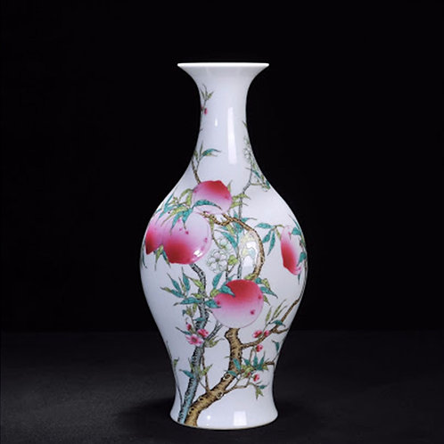 Chinese Famille Rose Oval Vase with Bats and Peaches