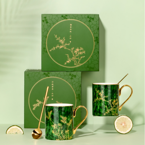 Gold Plum blossoms & bamboo Mug