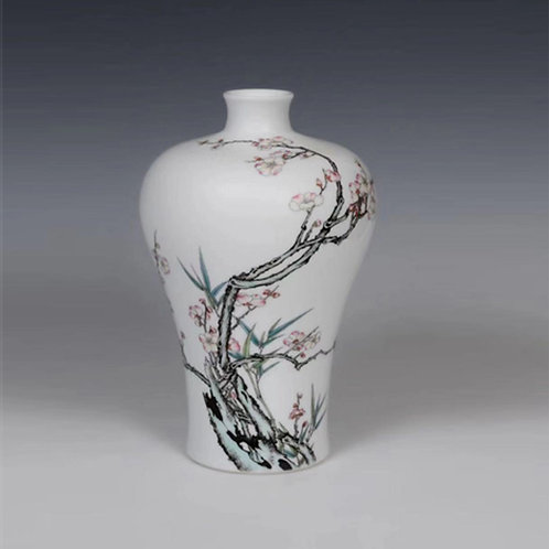 White-Glazed Vase with Plum  Blossom and Bamboo