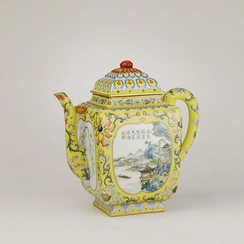 Yellow Chinese Famille Rose Open  Medallion Pot with Patterns of Landscape