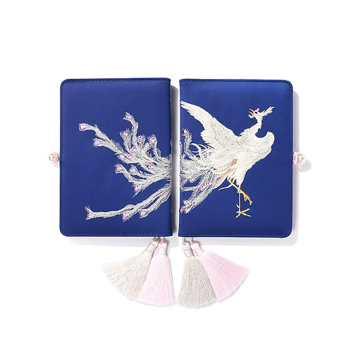 Embroidered White Phoenix Notebook