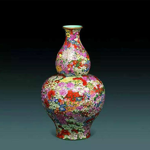 Chinese Famille Rose Gourd-shaped  Vase with a Hundred Flowers