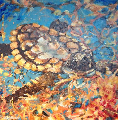 Lazarus, Loggerhead, Sea Turtle, Laura Palermo, Paintings by Palermo, conservation, art, baby turtle, hatchling, Charleston, scuba, diving, snorkel, art activism