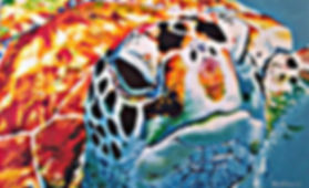 Laura Palermo, sea turtle art, sea turtle, endangered, conservation, sea turtle painting, green turtle, colorful, painting, Charleston, Tortuga, South Carolina Aquarium, ocean, scuba