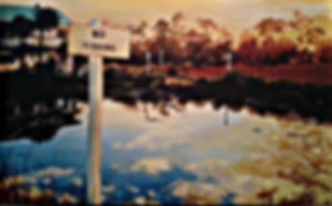 no fishing, reflections, Folly, Folly Beach, landscape, paintings by palermo, Laura Palermo, sunset, beach, Charleston, South Carolina, SC, art, painting