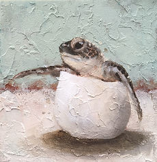 Laura Palermo, sea turtle art, sea turtle, endangered, conservation, sea turtle painting, baby turtle, colorful, painting, Charleston, hatchling, South Carolina Aquarium, ocean, scuba