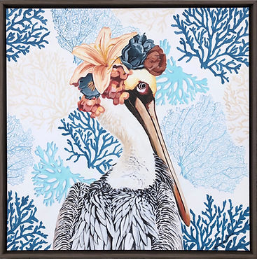 Penelope, pelican, painting, coral, flower crown, beach, art, decor, laura palermo, bird, painting