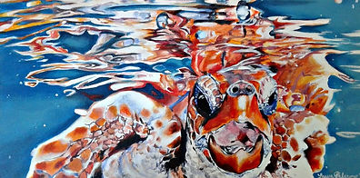 Laura Palermo, Paintings by Palermo, art, painting, sea turtle art, sea turtle, ocean, conservation, endangered, animal, scuba, underwater, Charleston, reef, colorful, nature, blue, orange, bubbles, reflection, South Carolina Aquarium, Loggerhead, Jersey