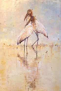 Wood Stork, Everglades, swamp, laura palermo, paintings by palermo, wildlife, conservations, art, activism, endangered, Charleston, SC, South Carolilna, beach, Naples, FL, Florida, SC Aquarium, preservation, blue, water, shorebird