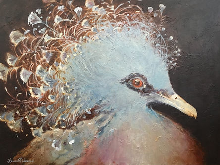 Victoria Crowned Pigeon, endangered, bird, art, painting, charleston, declining, conservation, Laura Palermo, paintings by palermo, nature, wildlife, pretty, pigeon