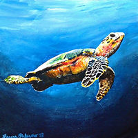 Laura Palermo, Paintings by Palermo, art, painting, sea turtle art, sea turtle, ocean, conservation, endangered, animal, scuba, underwater, Charleston, reef, colorful, nature, blue, South Carolina Aquarium, drifting, Hawksbill