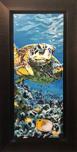 sea turtle, art, painting, coral, fish, ocean, sea, underwater, wildlife, conservation, laura palermo, paintings by palermo, scuba, diving, loggerhead