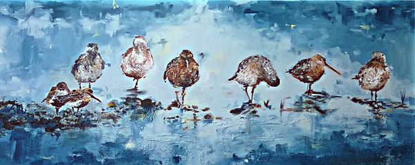 Laura Palermo, birds, endangered, hudsonian godwit, shorebird, sandpiper, charleston, Paintings by Palermo, painting, art, impressionism, blue, nature, conservation, animals, declining, endangered