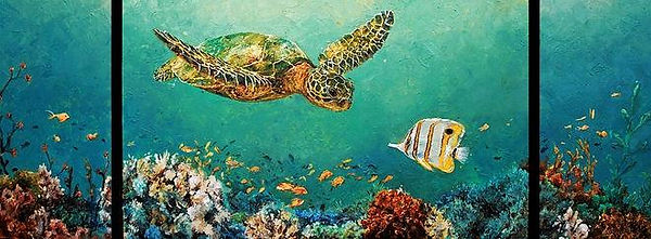Laura Palermo, Paintings by Palermo, art, painting, sea turtle art, sea turtle, ocean, conservation, endangered, animal, scuba, underwater, Charleston, reef, colorful, nature, blue, South Carolina Aquarium, coral, 18th Green, Green Sea Turtle, Kiawah, golf