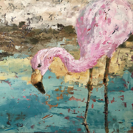 Andea Flaming, bird, wildlife, conservation, art, laura palermo, paintings by palermo, south america, borax mining, impressionism
