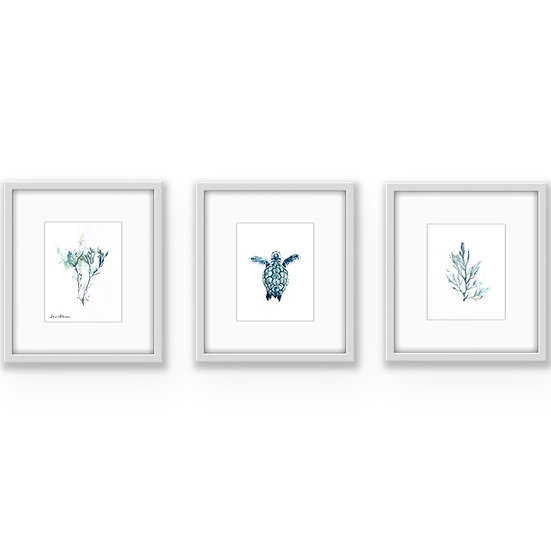 SEA TURTLE AND SEAWEED TRIPTYCH - ORIGINAL