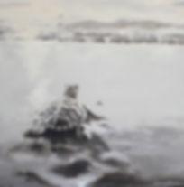 Laura Palermo, sea turtle art, sea turtle, endangered, conservation, sea turtle painting, baby turtle, black and white, painting, Charleston, hatchling, South Carolina Aquarium, ocean, scuba, beach