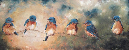 Eastern Bluebird, endangered, bird, art, painting, charleston, declining, songbird, conservation, Laura Palermo, paintings by palermo, nature, wildlife, pretty, bluebirds